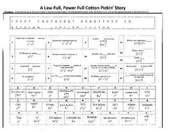 A Law Full, Power Full Cotton Pickin' Story, Exponential Laws,Exponents