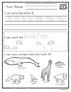 Letters A, B, C, D, E & F Practice Pages -- Zoo Morning Work -- Homeschool