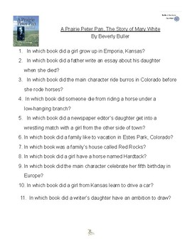 A Prairie Peter Pan by Beverly Buller, Battle of the Books Questions