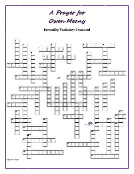 A Prayer for Owen Meany: 50-word Prereading Vocab Crossword