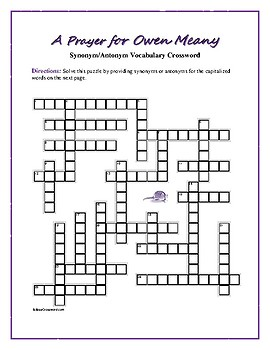 A Prayer for Owen Meany: Synonym/Antonym Crossword—Use with Bookmarks Plus!