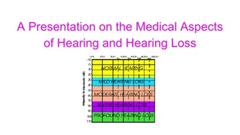 A Presentation on the Medical Aspects of Hearing and Hearing Loss