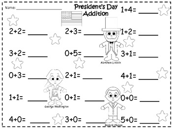 A + Presidents' Day Addition 0-10