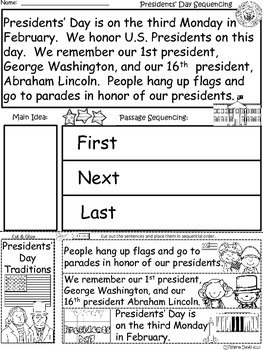 A+  Presidents' Day Sequencing (First, Next, Last):  Differentiated Instruction