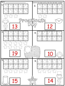 A + President's Day Ten Frame: Counting Numbers 10-20