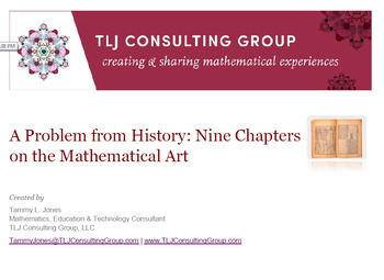 A Problem from History Nine Chapters on the Mathematical Art