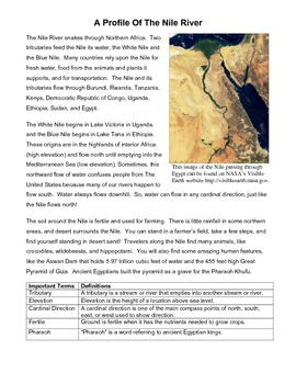 A Profile of The Nile River: An Informational Text & Comprehension Questions