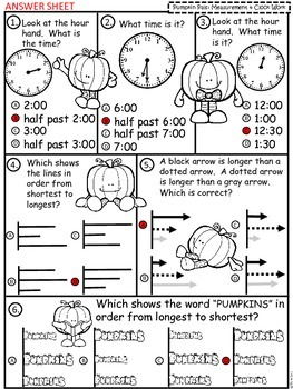 A+ Pumpkin Pals Math: Clocks and Measurement