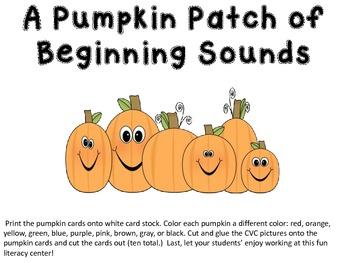 A Pumpkin Patch of Beginning Sounds Literacy Center