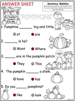 A+ Pumpkins: Fill In the Blank.Multiple Choice Sight Word Sentences