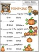 A+ Pumpkins: Fill In the Blank.Multiple Choice Sight Word