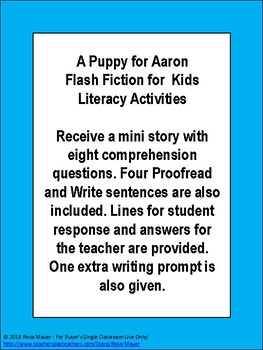 A Puppy for Aaron Short Story for  Kids Literacy Activities