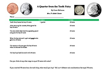 A Quarter from the Tooth Fairy - Math/Literature Connected Activity