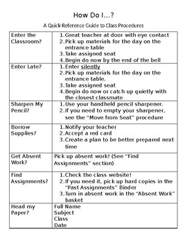 A Quick Reference Guide to Class Procedures