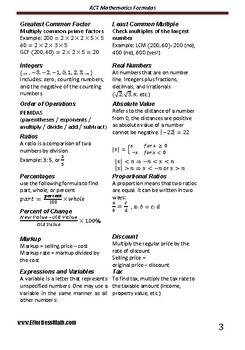 A Quick Review and a complete list of ACT Mathematics Formulas