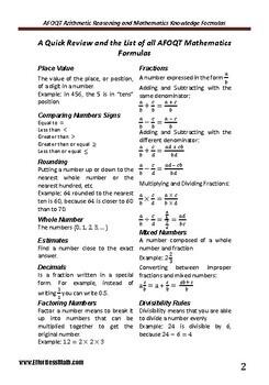 A Quick Review and a complete list of AFOQT Mathematics Formulas