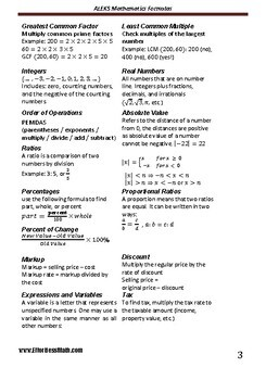 A Quick Review and a complete list of ALEKS Mathematics Formulas