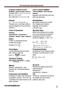 A Quick Review and a complete list of DAT Mathematics Formulas