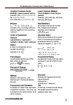 A Quick Review and a complete list of TSI Mathematics Formulas
