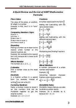A Quick Review and a complete list of HiSET Mathematics Formulas