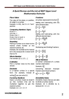 A Quick Review and a complete list of SSAT Upper Level Mathematics Formulas