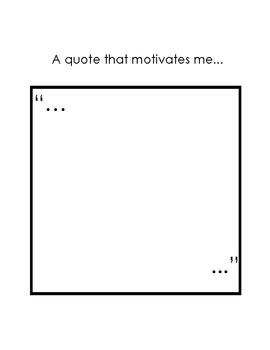 A Quote That Motivates Me - Activity