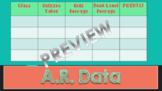 A.R. CLASS DATA CHART/TRACKER