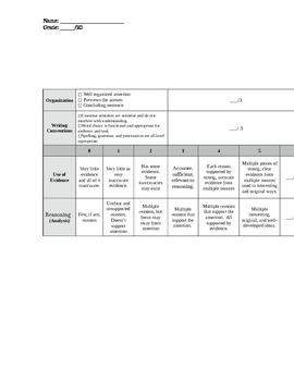 A.R.E.A. Paragraph Response Template & Rubric