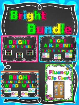 A.R. Points - Caddies Labels - Fluency Chart - Spanish-English Word Wall Bundle