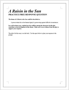 A RAISIN IN THE SUN   AP English Literature Essay Prompt