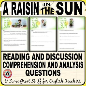 A RAISIN IN THE SUN Comprehension and Analysis Questions BUNDLE