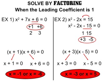 A-REI.4b Solving Quadratic Equations by Factoring (Leading Coeff. of 1 or GCF)