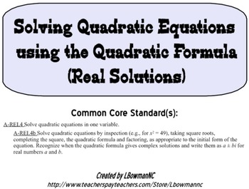 Solving Using Quadratic Formula Lesson Teaching Resources Teachers