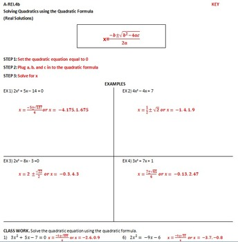 A-REI.4b Solving Quadratic Equations using the Quadratic Formula (RealSolutions)