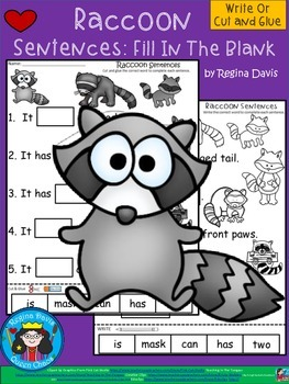 A+ Raccoon Sentences: Fill In The Blank