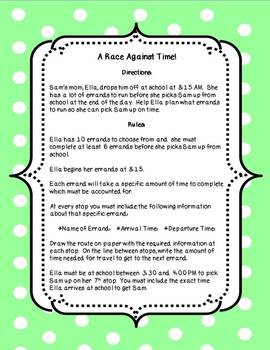 A Race Against Time (Elapsed Time Activity)