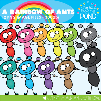 A Rainbow of Ants Clipart Set