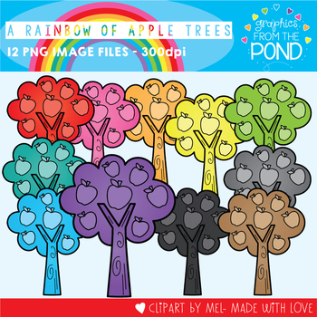 A Rainbow of Apple Trees Clipart Set