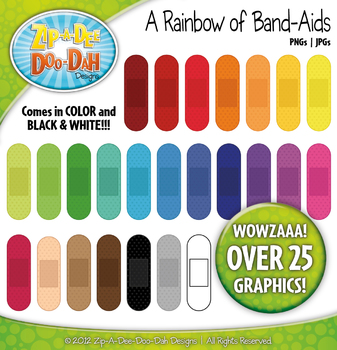 A Rainbow of Band-Aids Clipart — Over 25 Graphics!
