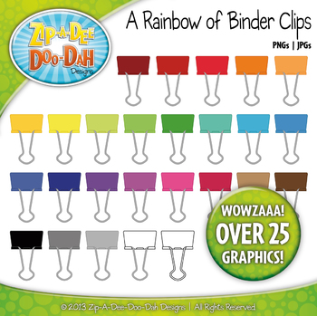 A Rainbow of Binder Clips Clipart — Over 25 Graphics!