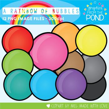 A Rainbow of Bubbles Clipart Set