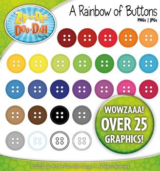 Rainbow Buttons Clipart {Zip-A-Dee-Doo-Dah Designs}