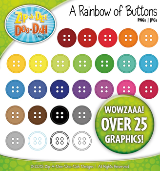 A Rainbow of Buttons Clipart — Over 25 Graphics!