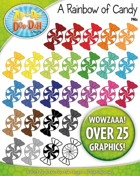 A Rainbow of Candy Clipart — Over 25 Graphics!