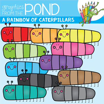 A Rainbow of Caterpillars Clipart Set