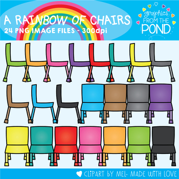 A Rainbow of Chairs Clipart Set