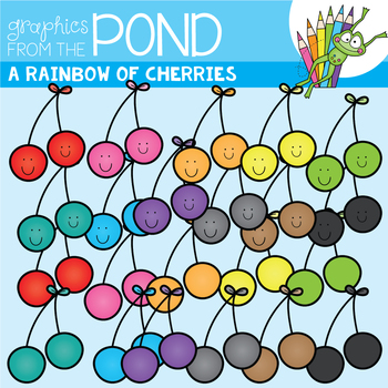 A Rainbow of Cherries Clipart Set