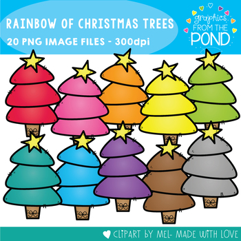A Rainbow of Christmas Trees Clipart