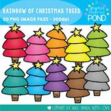 A Rainbow of Christmas Trees Clipart