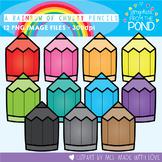 A Rainbow of Chubby Pencils Clipart Set